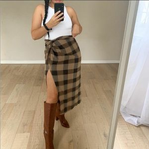 Zara Plaid Wrap Skirt Thigh Split Black Tan Check